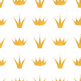 Golden crown seamless pattern. Holiday background. Cartoon cute Stock Image