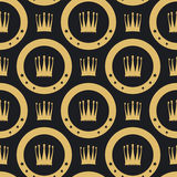 Golden crown seamless pattern Royalty Free Stock Photography