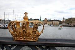 Golden crown on Skeppsholm bridge ,Stockholm , Sweden stock image