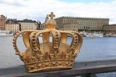 Golden crown on Skeppsholm bridge ,Stockholm , Sweden stock photo