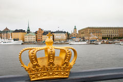 Golden crown in Stockholm Royalty Free Stock Photos