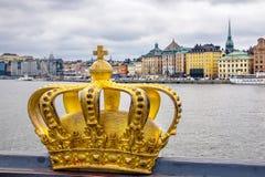 Golden crown in Stockholm. Sweden Stock Image