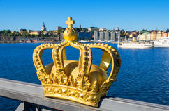 Golden crown. Stockholm, Sweden Royalty Free Stock Photos