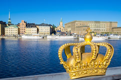 Golden crown. Stockholm, Sweden Stock Photos