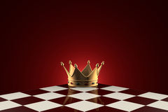 Golden Crown (symbol of power). Chess metaphor. Royalty Free Stock Image