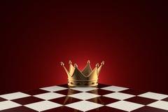 Golden Crown (symbol of power). Chess metaphor. Royalty Free Stock Image