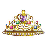 Golden Crown Vector. Golden Crown with Jewels and Pearls Vector Royalty Free Stock Photo