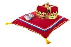 Golden crown on velvet pillow in Holland Royalty Free Stock Images