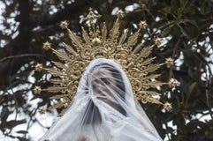 Golden crown of a virgin figure. Golden crown of the virgin mother god Royalty Free Stock Images