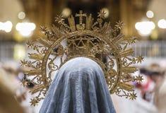 Golden crown of a virgin figure. Golden crown of the virgin mother god Stock Image