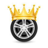 Golden crown on wheel Stock Photos