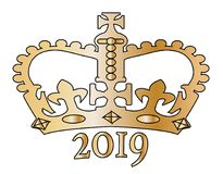 2019 New Year Golden Isolated Crown Stock Image