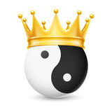 Golden crown on yin-yang. Golden crown on the yin-yang,  on white Stock Image
