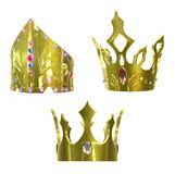 Golden crowns. Isolated on white background with clipping paths. 3D image Royalty Free Stock Image
