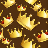 Golden Crowns Background Pattern. Vector Royalty Free Stock Photography