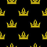 Golden crowns black vector seamless pattern Stock Photography