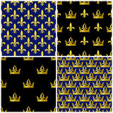 Golden crowns and fleur de lis seamless patterns set Stock Photography