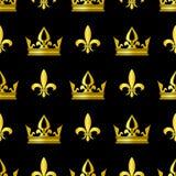 Golden crowns and fleur de lis vector seamless pattern Stock Photography