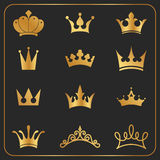 Golden crowns icon elements design Royalty Free Stock Image