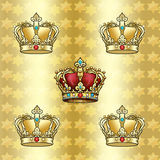 Golden Crowns pattern Stock Photography