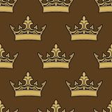 Golden crowns seamless pattern Royalty Free Stock Photo