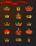 Golden crowns. Set of 15 crowns, vector illustration Royalty Free Stock Images