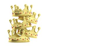 Golden crowns stacked on white background. 3d illustration Stock Photo
