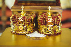Golden Crowns on Table Royalty Free Stock Photography