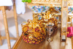 Golden Crowns for Wedding Stock Photography