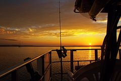 Golden Cruising Sunset Seascape. Stock Images