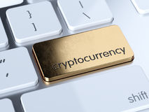 Golden cryptocurrency button. Golden cryptocurrency service sign button on white computer keyboard. 3d rendering concept Royalty Free Stock Photos