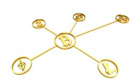 Golden cryptocurrency symbols on white background no shadow. 3d rendering royalty free illustration
