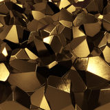 Golden crystals. Abstract golden crystals - computer generated 3d pyrites stock illustration