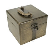Golden Cube Box. Golden retro cube box with metal accents and a slide lock and handle - path included Stock Photo