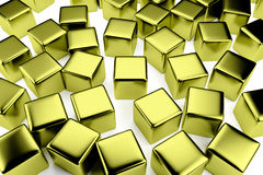 Golden cube in the crowd of scattered cubes Stock Photography