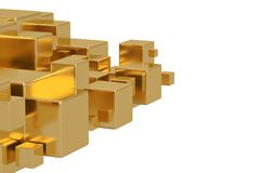 Golden cube isolated on white background 3D illustration. Golden cube isolated on white background 3D illustration vector illustration