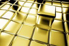 Golden cube standing out in crowd Stock Photography