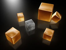 Golden cubes Royalty Free Stock Image
