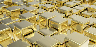 Golden cubes Stock Photos