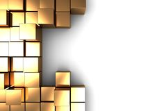 Golden cubes. Abstract 3d illustration of background with golden cubes and space for text Stock Images