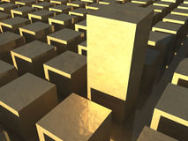 Field of golden cubes. A field of golden cubes with one standing out taller Stock Photos