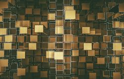 Golden Cubes Abstract Backdrop. Golden Cubes Abstract Background 3D Render Illustration Stock Photography