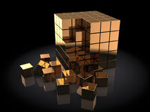 Golden cubes. Abstract 3d illustration of golden cub built with blocks Stock Image