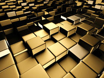 Golden cubes abstract futuristic background. 3d render illustration Stock Photos