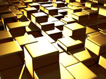 Golden cubes abstract futuristic background. 3d render illustration Stock Photo