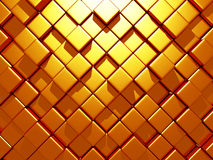 Golden cubes abstract futuristic background. 3d render illustration Stock Photography