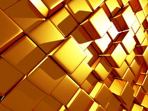 Golden cubes abstract futuristic background. 3d render illustration Royalty Free Stock Image