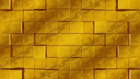 Golden cubes assemble on green background. Golden cubes from opposite directions are shifted filling the green screen and assembled into the wall. Abstract vector illustration