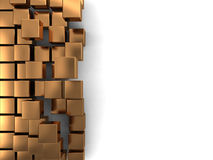 Golden cubes background. Abstract 3d illustration of background with golden cubes at right side Royalty Free Stock Photos