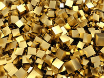 Golden cubes background. 3d render Royalty Free Stock Photo